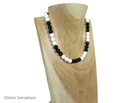 Black & White! Black Onyx & Snow White Agate Sterling Silver Necklace